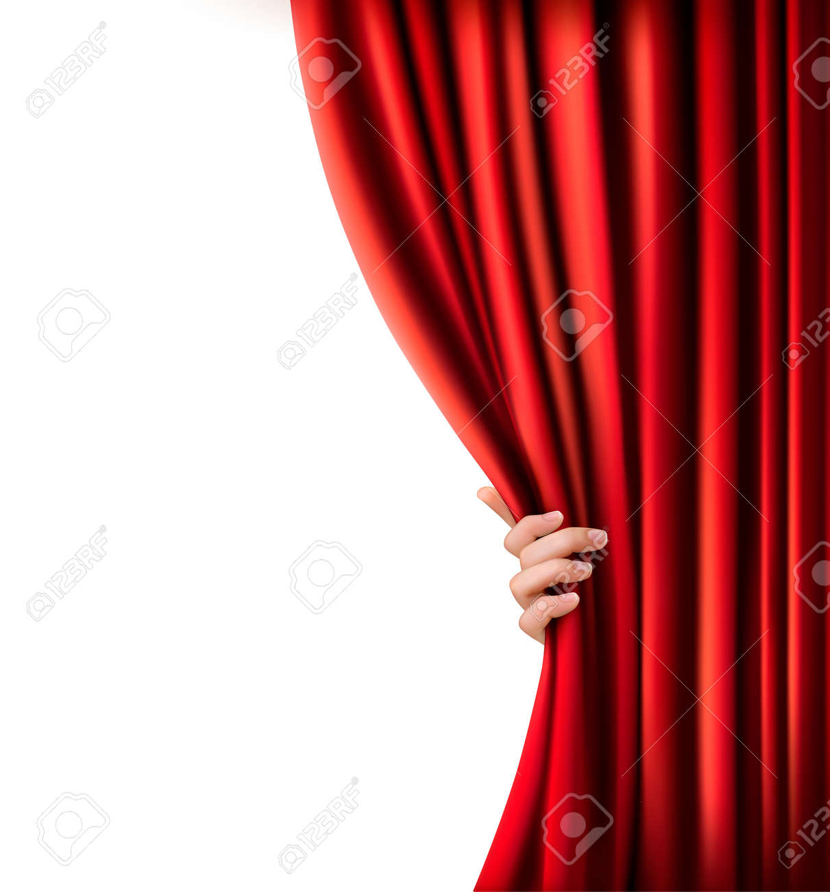 Creative vector illustration of stage with luxury scarlet red silk velvet  drapes and fabric curtains isolated on background. Art design. Concept  element for music party, theater, circus, opera, show Clip Art |