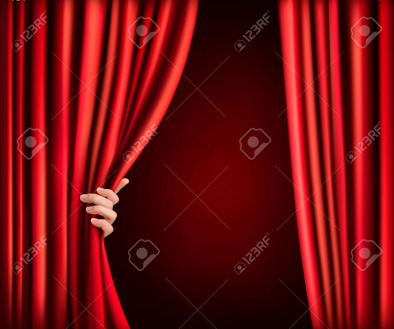 background with red velvet curtain and hand vector stock vector - Velvet Curtain