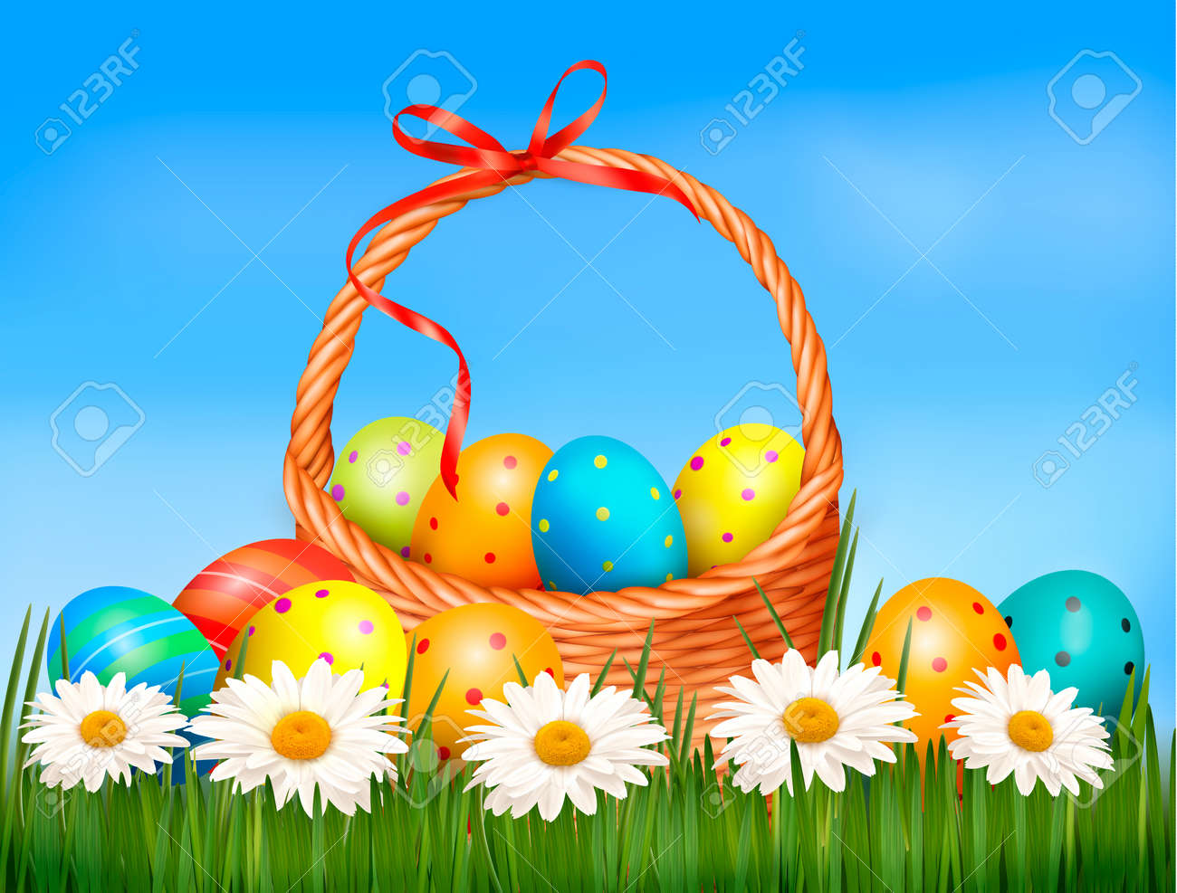 Easter background  Easter eggs and flower with basket in the grass Stock Vector - 18252368