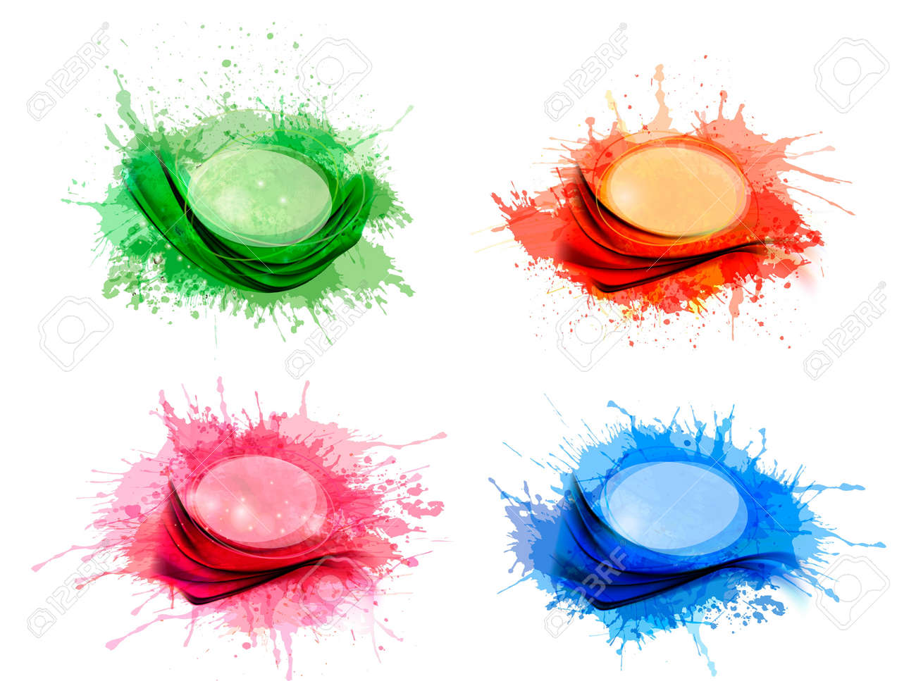 Collection of colorful abstract watercolor backgrounds Stock Vector - 18252375