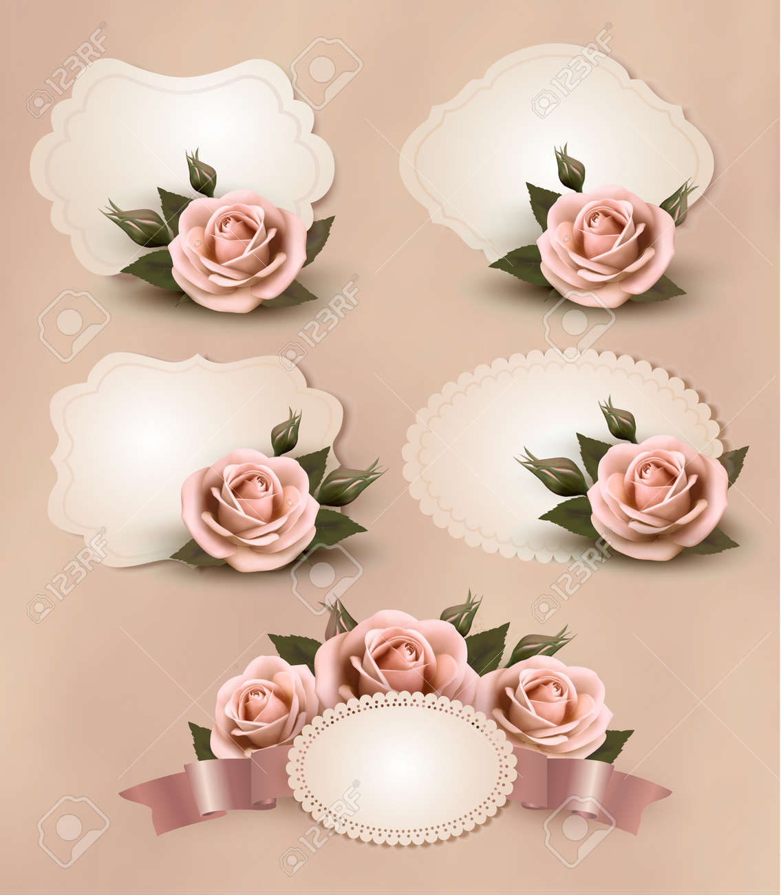 Collection of retro greeting cards with pink rose. Stock Vector - 18252340