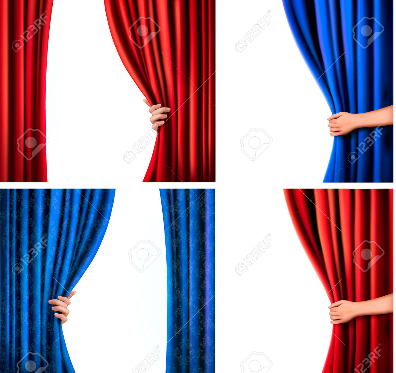 Stage curtain background open stage curtains background red stage - Open Stage Curtains Open Stage Curtains Set Of Backgrounds With Red And Blue Velvet Curtain