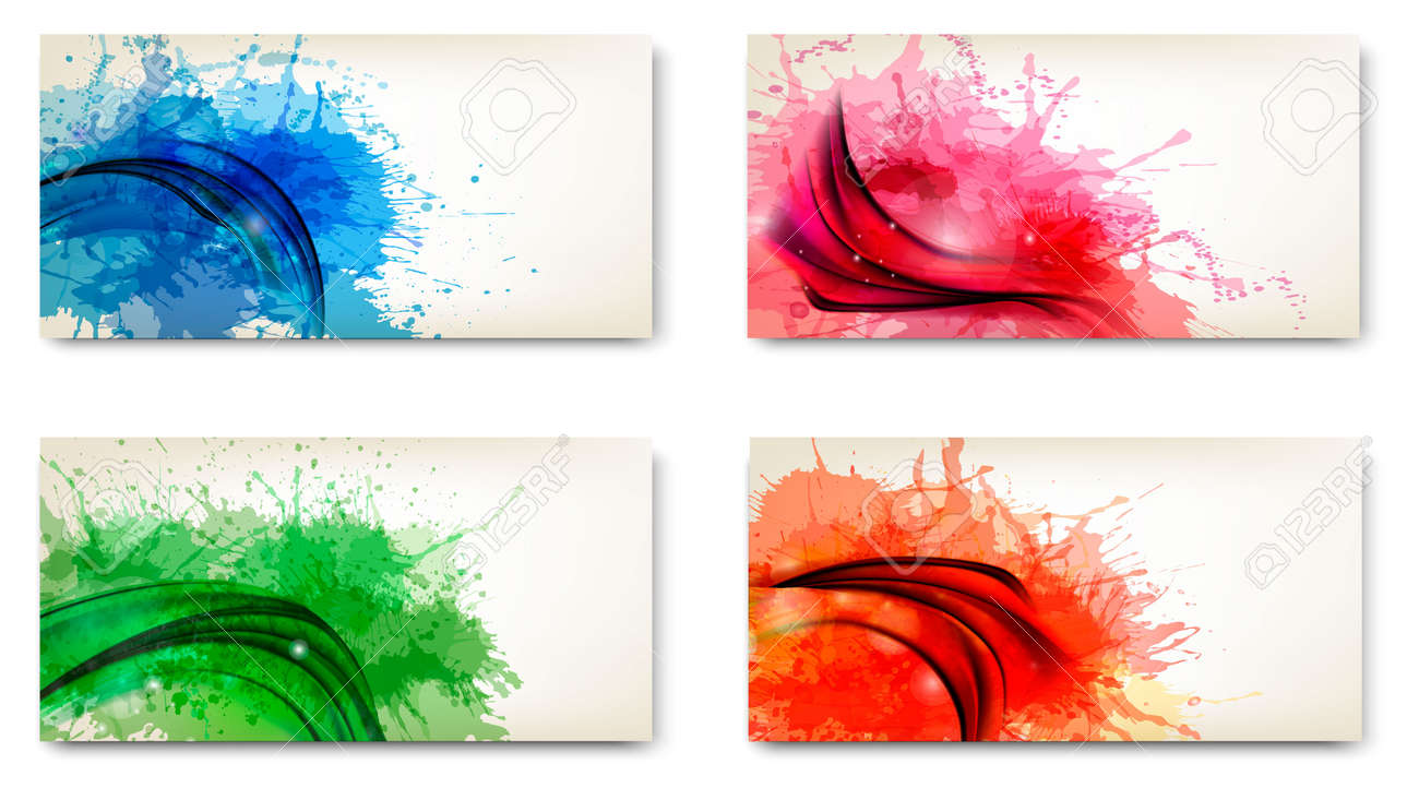 Abstract banners with watercolor splashes Stock Vector - 18730240
