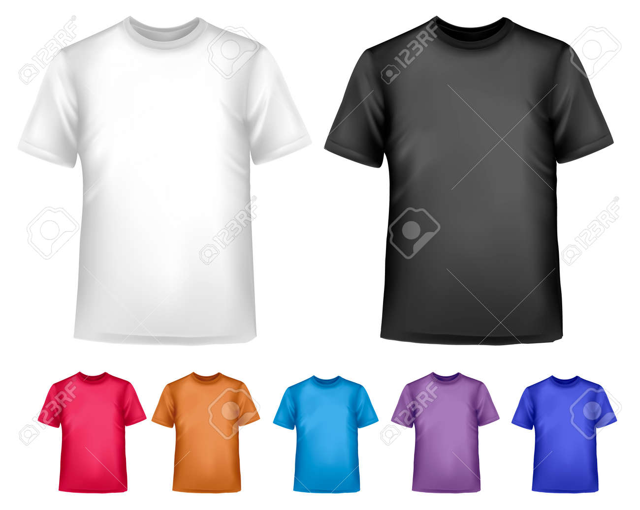 Black and white and color men polo t-shirts. Design template. Vector Stock Vector - 18959962
