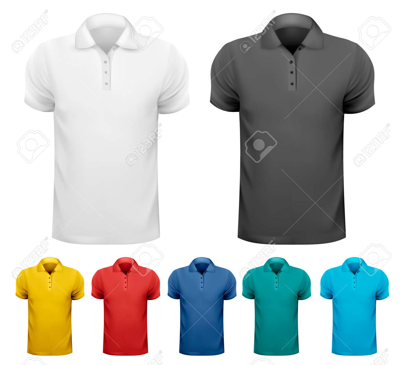 7deb9a10 Black and white and color men t- shirts. Design template. Vector  illustration Stock