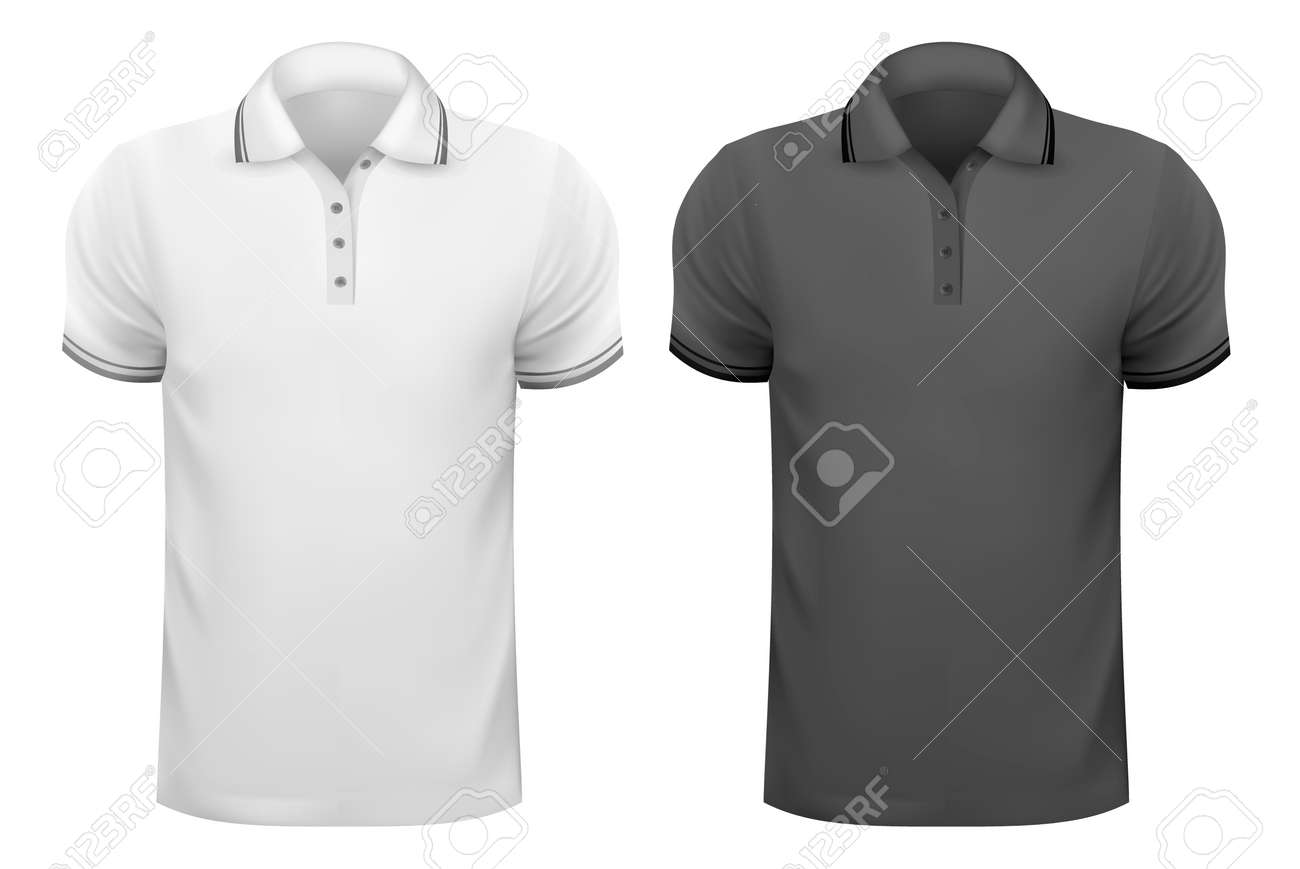 Black t shirt design template - Black And White Men T Shirts Design Template Vector Illustration Stock Vector