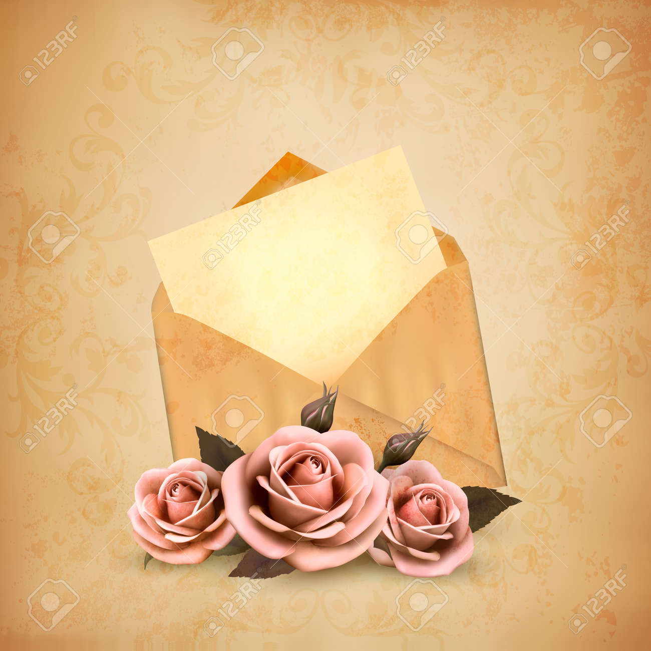 three roses in front of an old envelope with a letter love letter concept