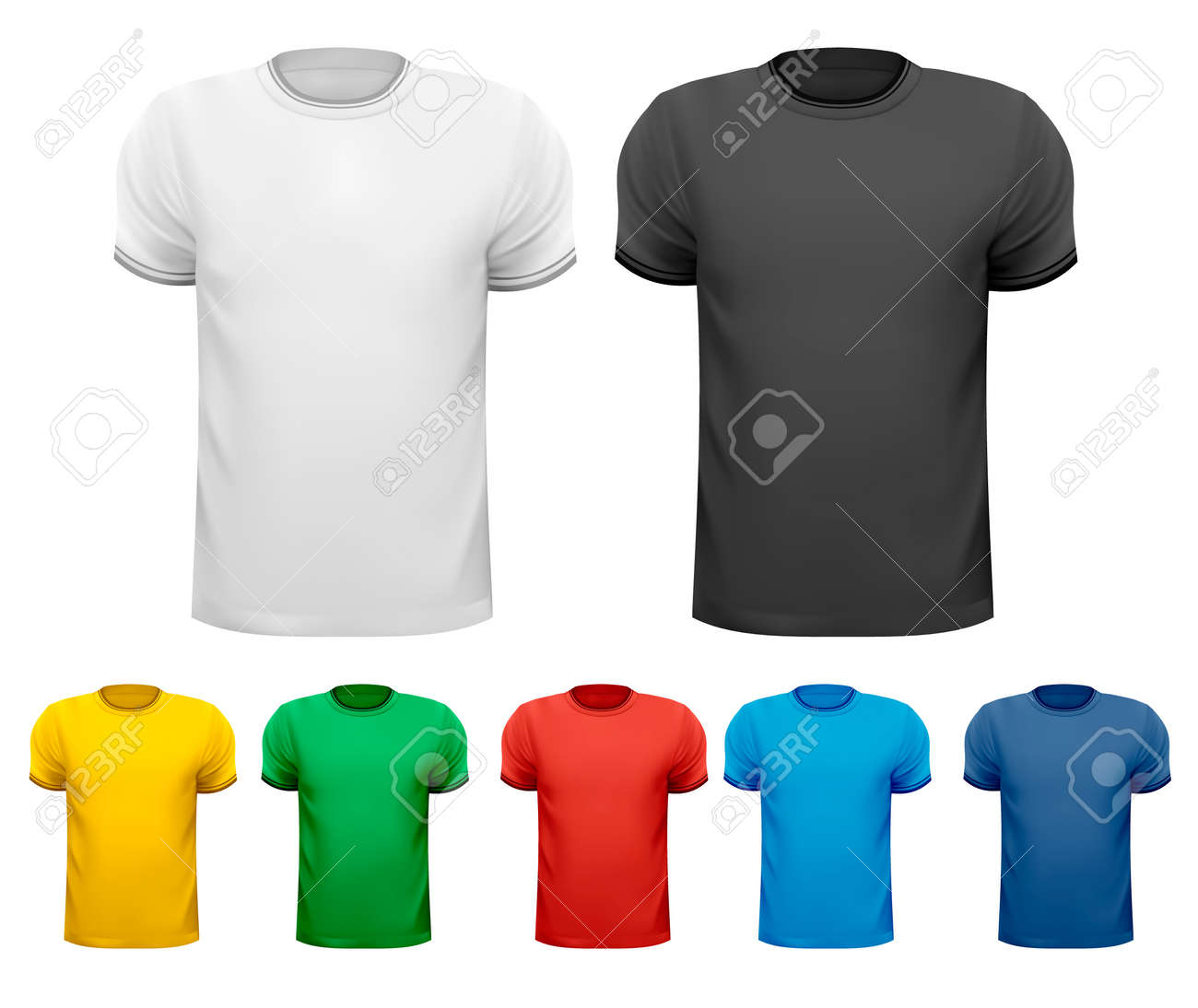Black and white and color men t-shirts  Design template Stock Vector - 19508031