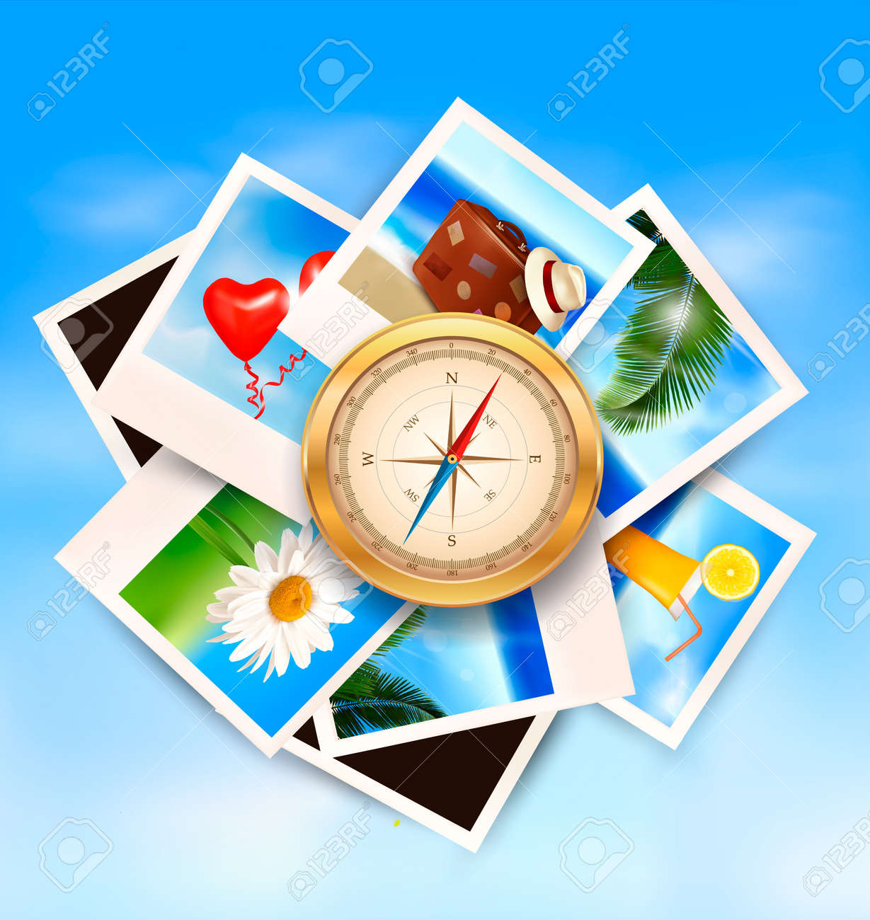 Background  with travel photos and  compass. Vector Stock Vector - 19803298
