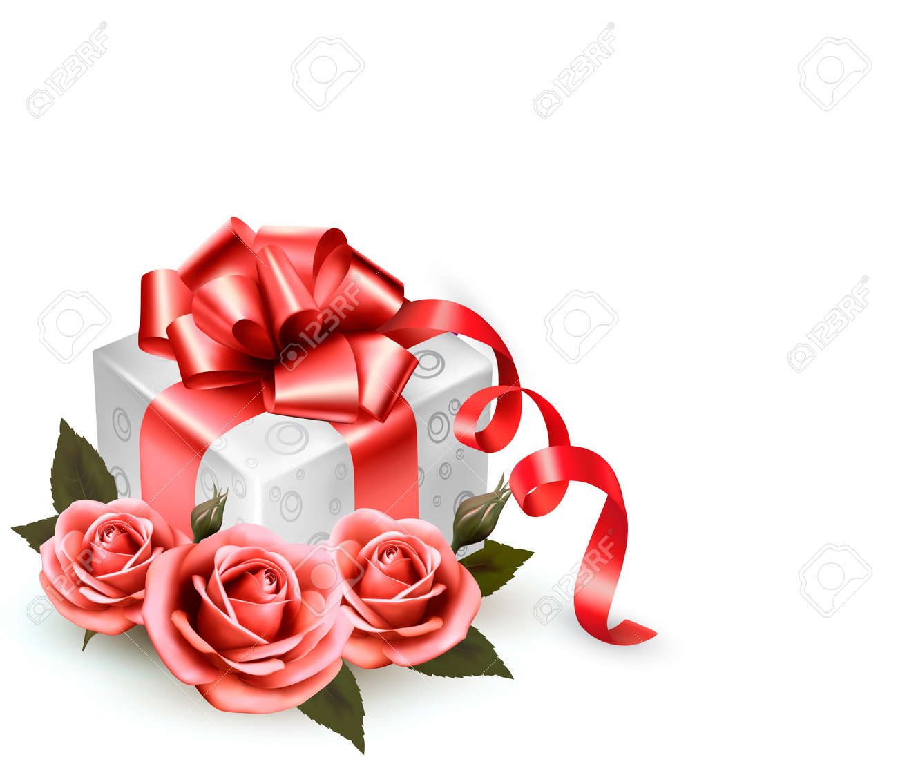 Holiday background with pink roses and gift box Stock Vector - 19783325