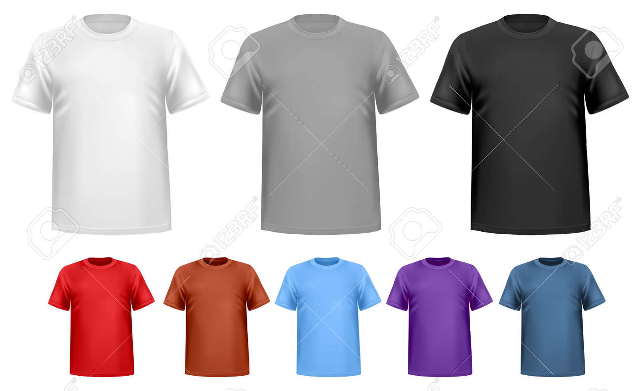 Black And White And Color Men T-shirts. Design Template. Vector ...