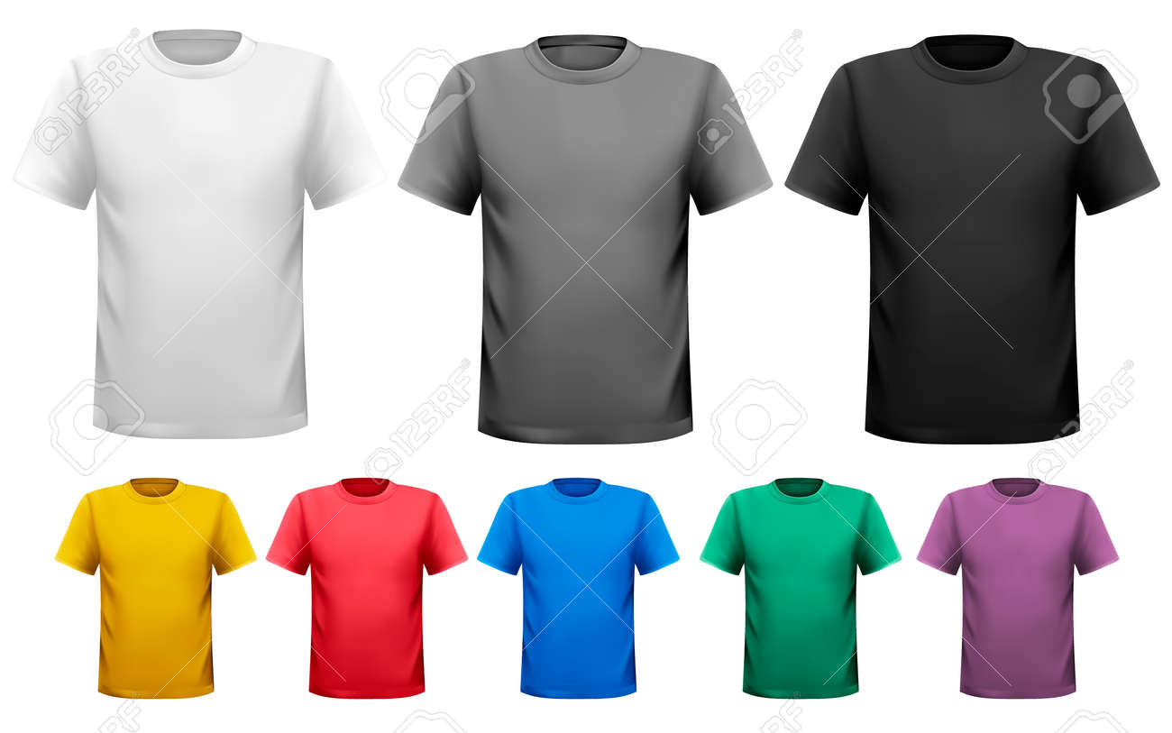 92a95d38 Black and white and color men t-shirts. Design template. Vector Stock Vector