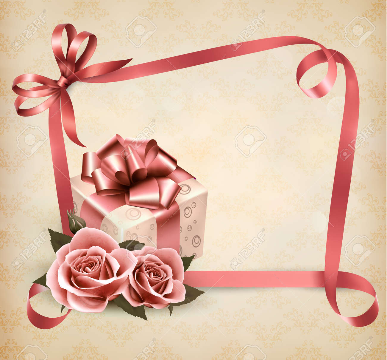 Holiday background with pink roses and gift box and ribbon. Stock Vector - 20193251