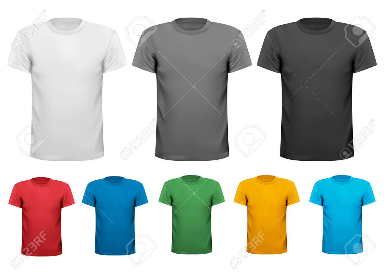 Colorful male t-shirts. Design template. Vector. - 31561926