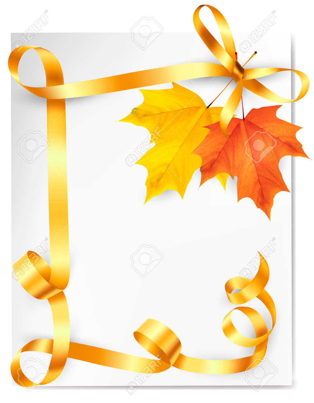 Autumn background with colorful leaves and gold ribbons. Back to school. Vector illustration Stock Vector - 21402356