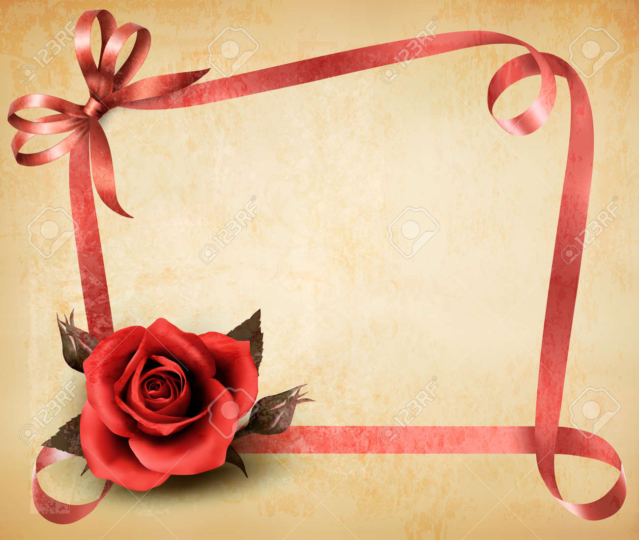 Retro holiday background with red rose and ribbons. Vector illustration. Stock Vector - 21643174
