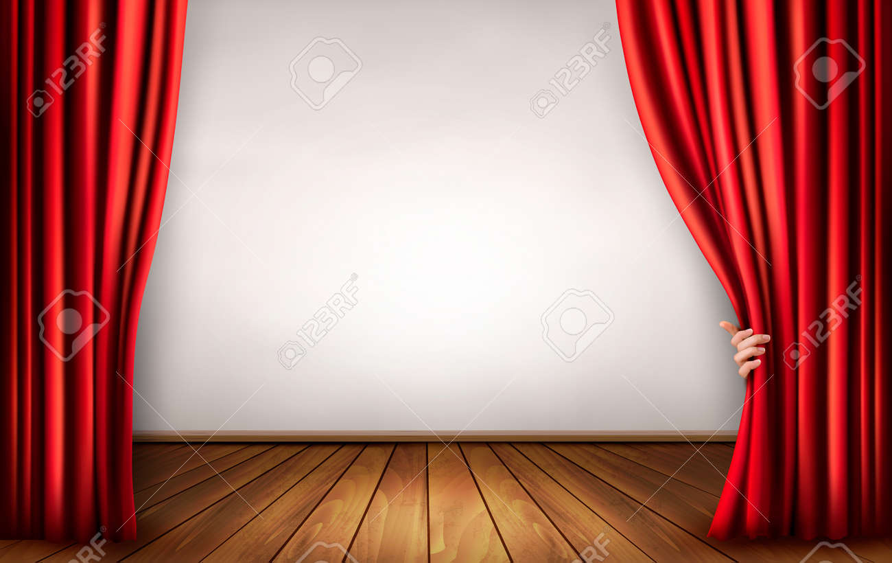 background with red velvet curtain and hand stock vector - Velvet Curtain