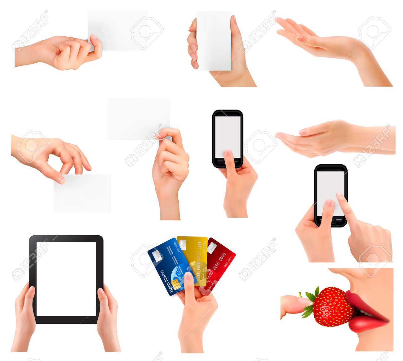 Set of hands holding different business objects. Vector illustration Stock Vector - 22506876