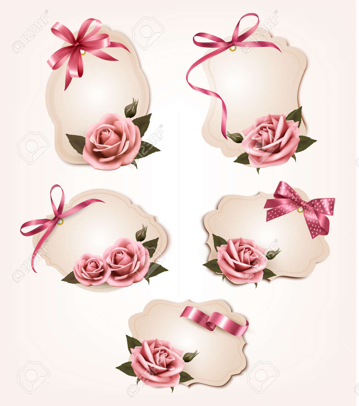 Collection of retro greeting cards with pink roses. Vector illustration. Stock Vector - 22966507