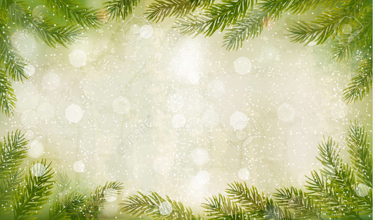 Christmas retro background with christmas tree branches. Vector. - 22966545