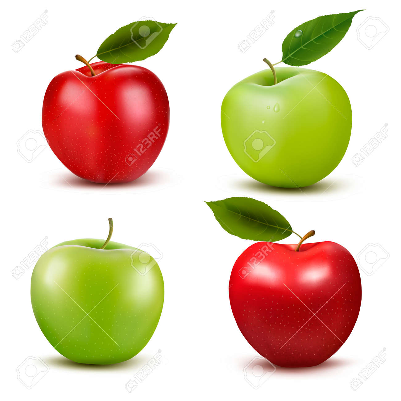 Set of red and green apple fruits with cut and green leaves. Vector illustration. Stock Vector - 22966557
