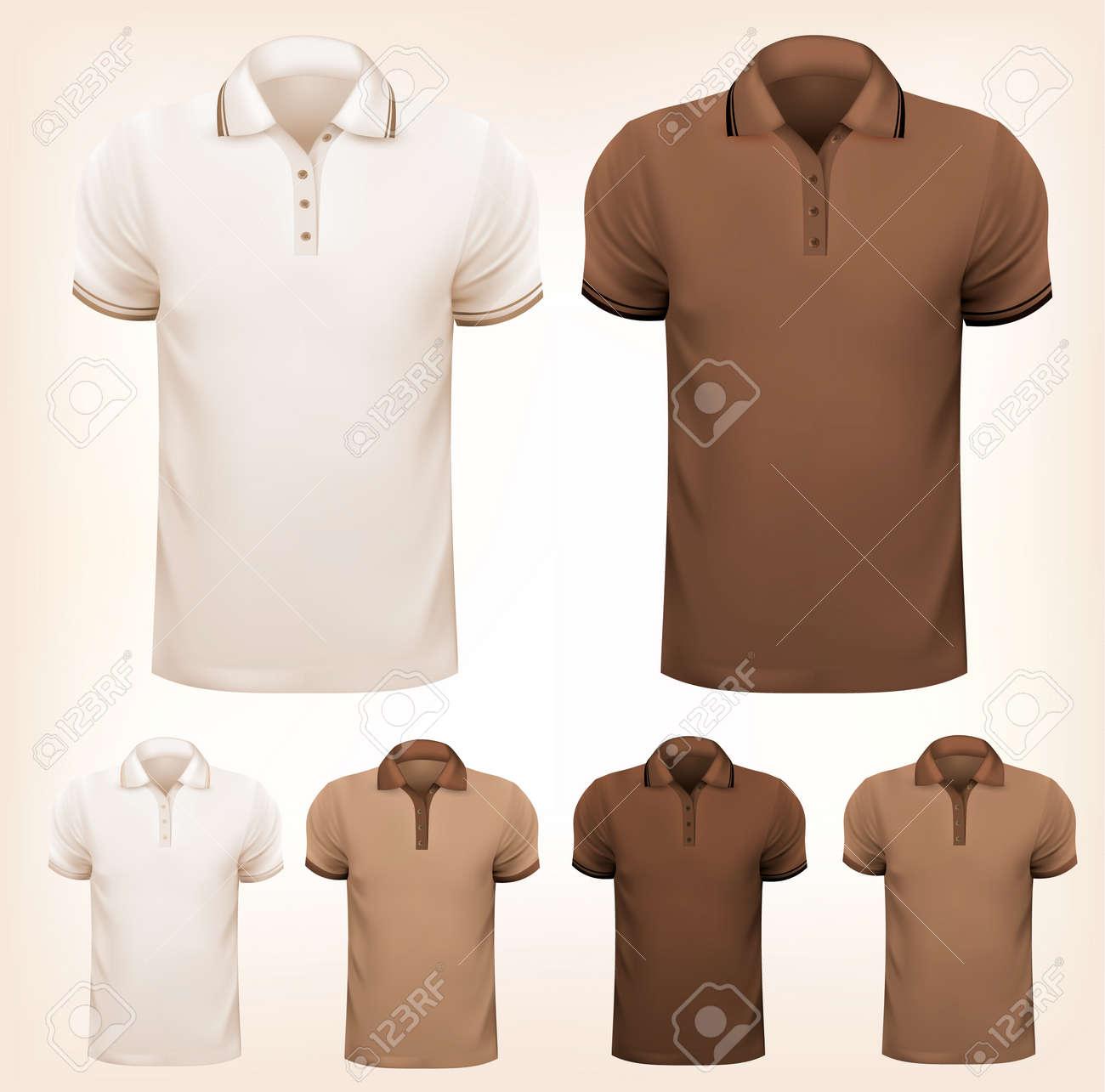 Retro set of colorful men t-shirts  Design template  Vector illustration Stock Vector - 23701928