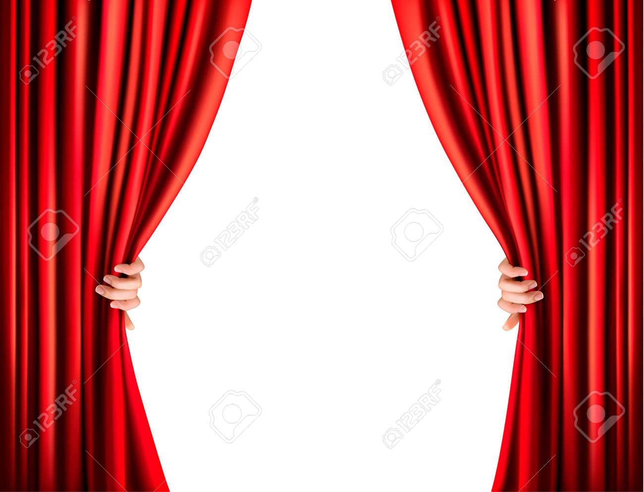 background with red velvet curtain vector stock vector - Velvet Curtain