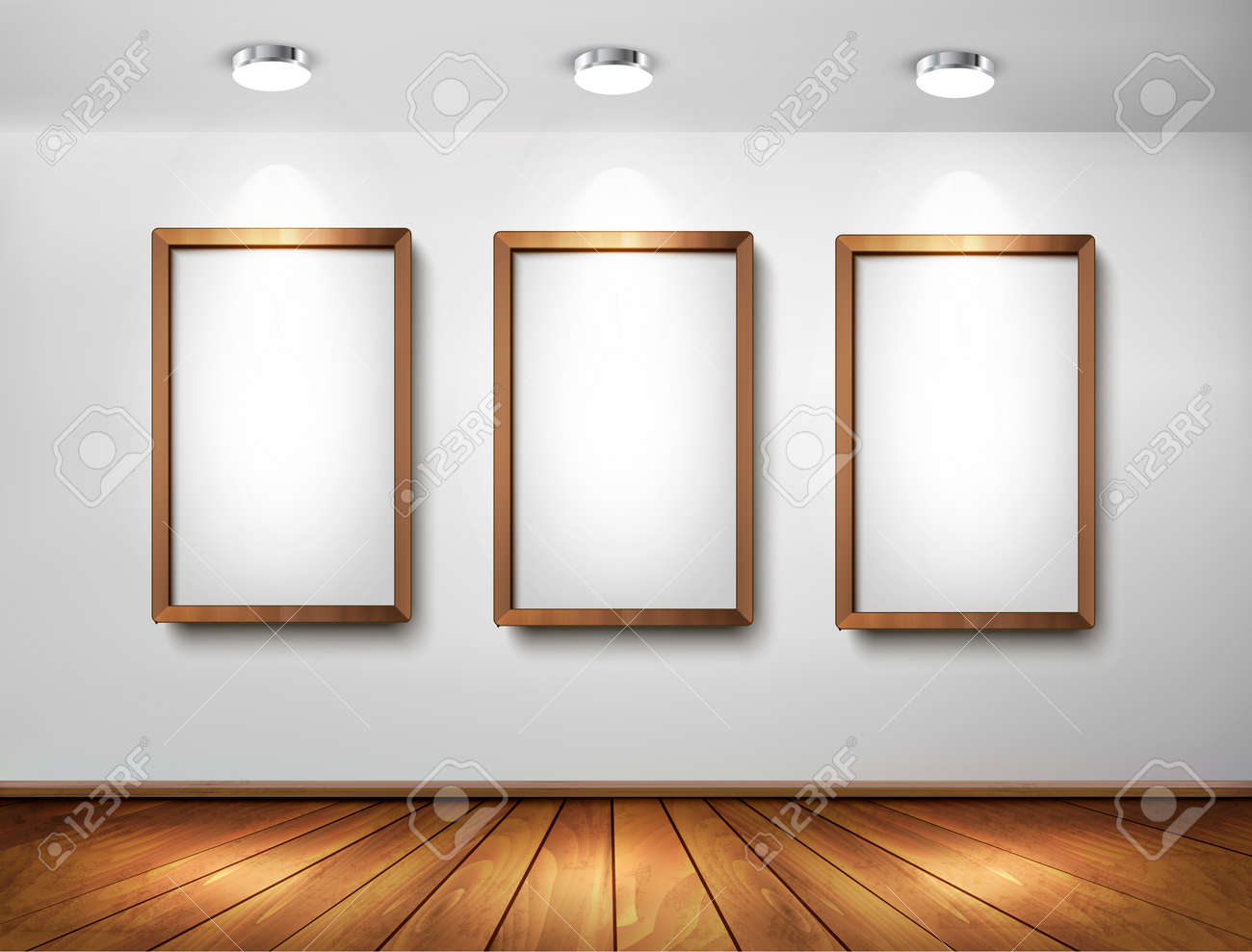 Empty Wooden Frames On Wall With Spotlights And Wooden Floor ...