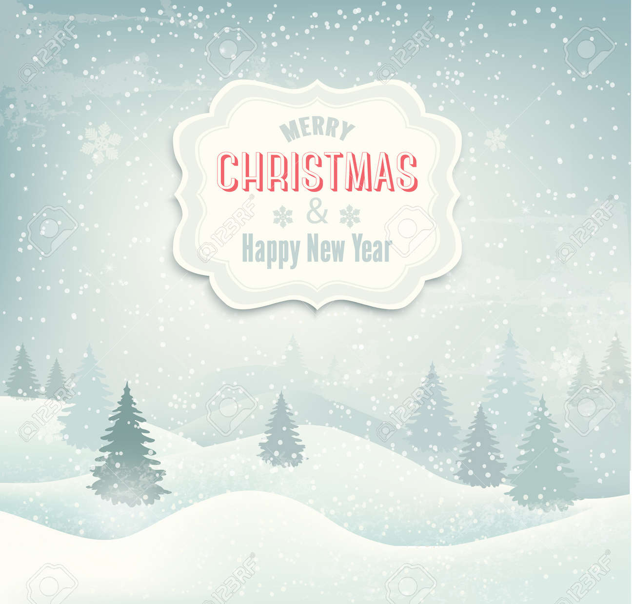 Retro holiday christmas background with winter landscape. Vector Stock Vector - 24061677