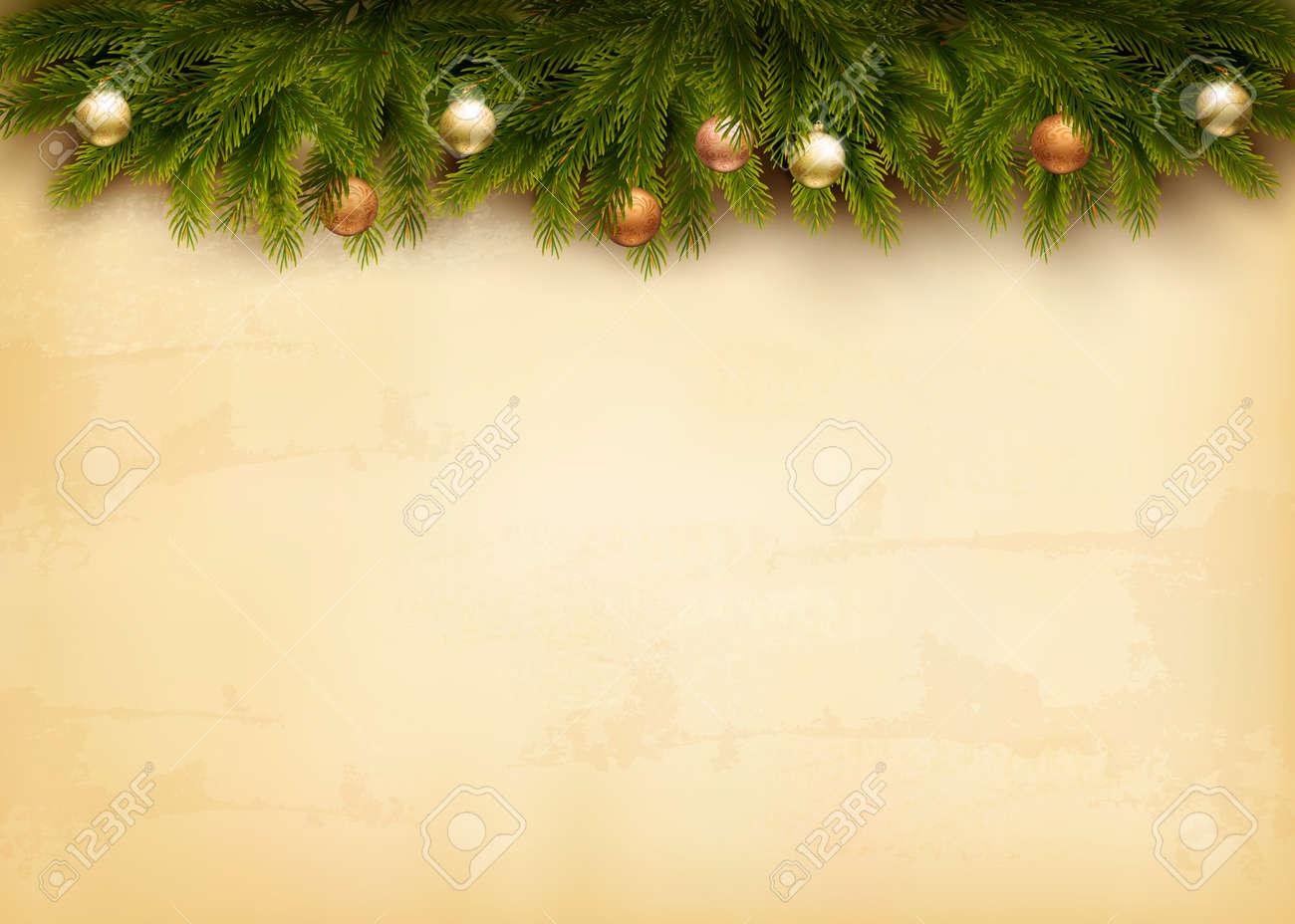 Decoración De Navidad En El Fondo De Papel Viejo Vector