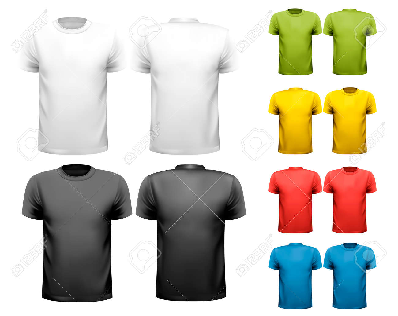 73886f33 Colorful male t-shirts. Design template. Vector. Stock Vector - 25119359