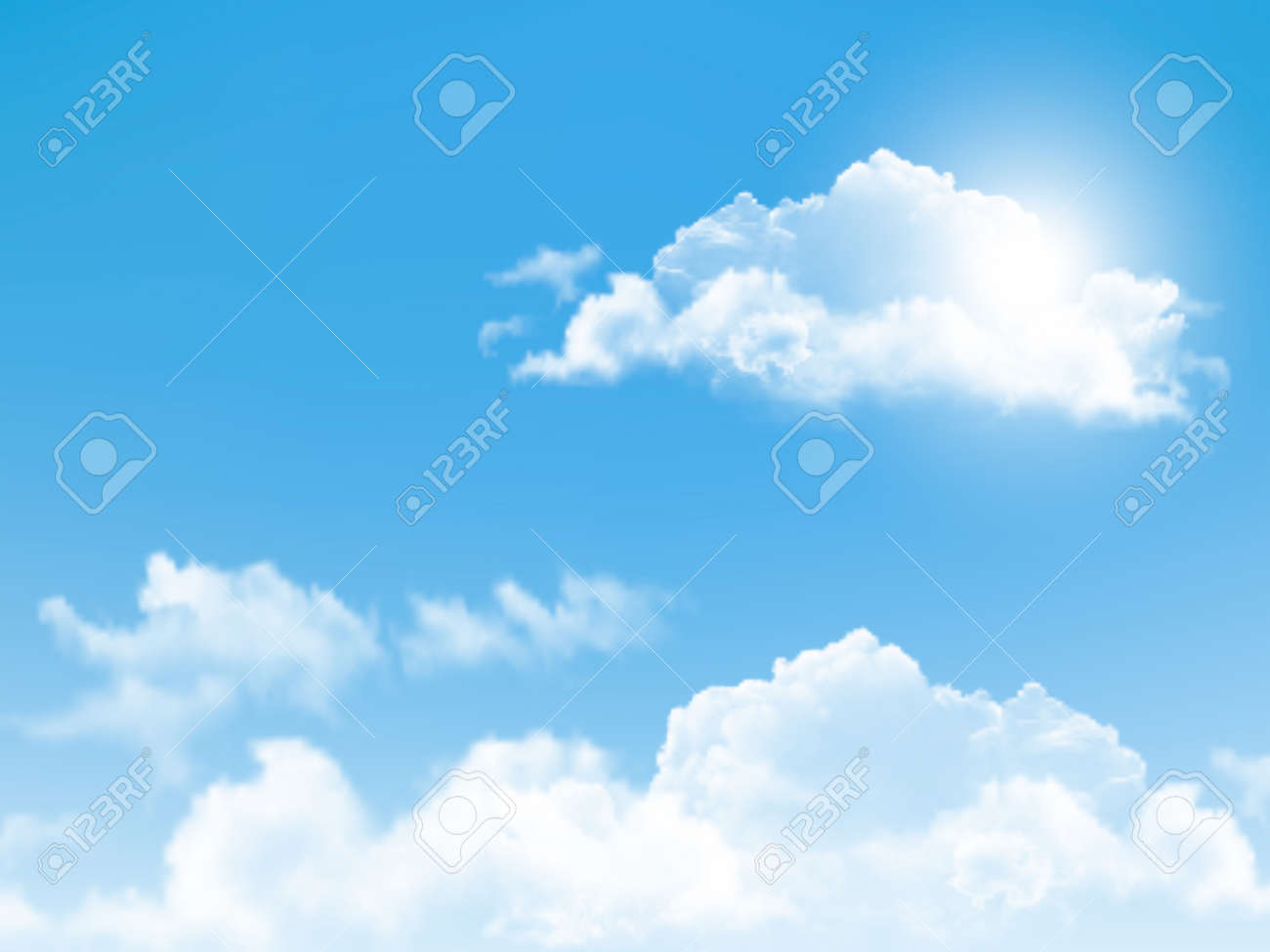 Blue sky with clouds. Vector background. - 25815325