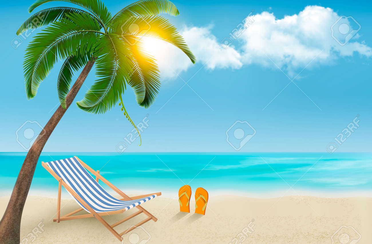 Flip Flop Chair Seaside Background With A Beach Chair And Flip Flops Vector