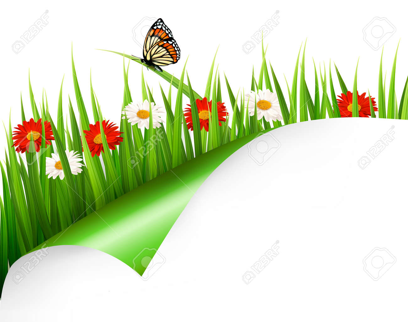 spring background with flowers grass and a butterfly vector rh 123rf com vector spring vector spring tx