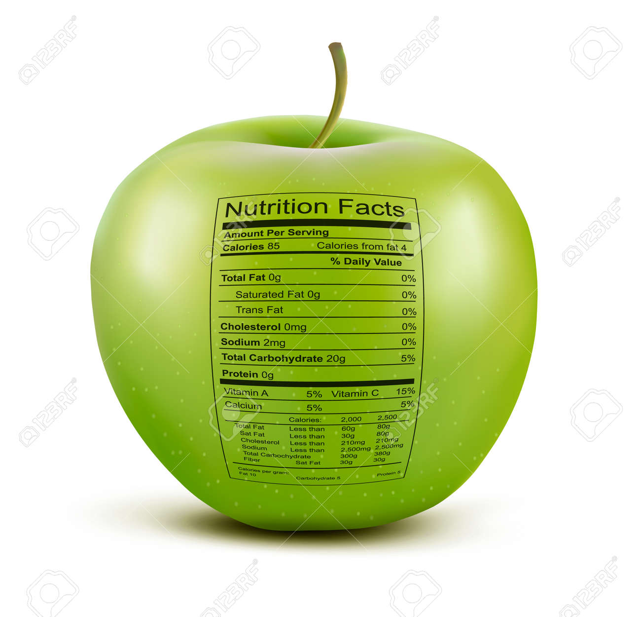 Apple With Nutrition Facts Label Concept Of Healthy Food Vector ...
