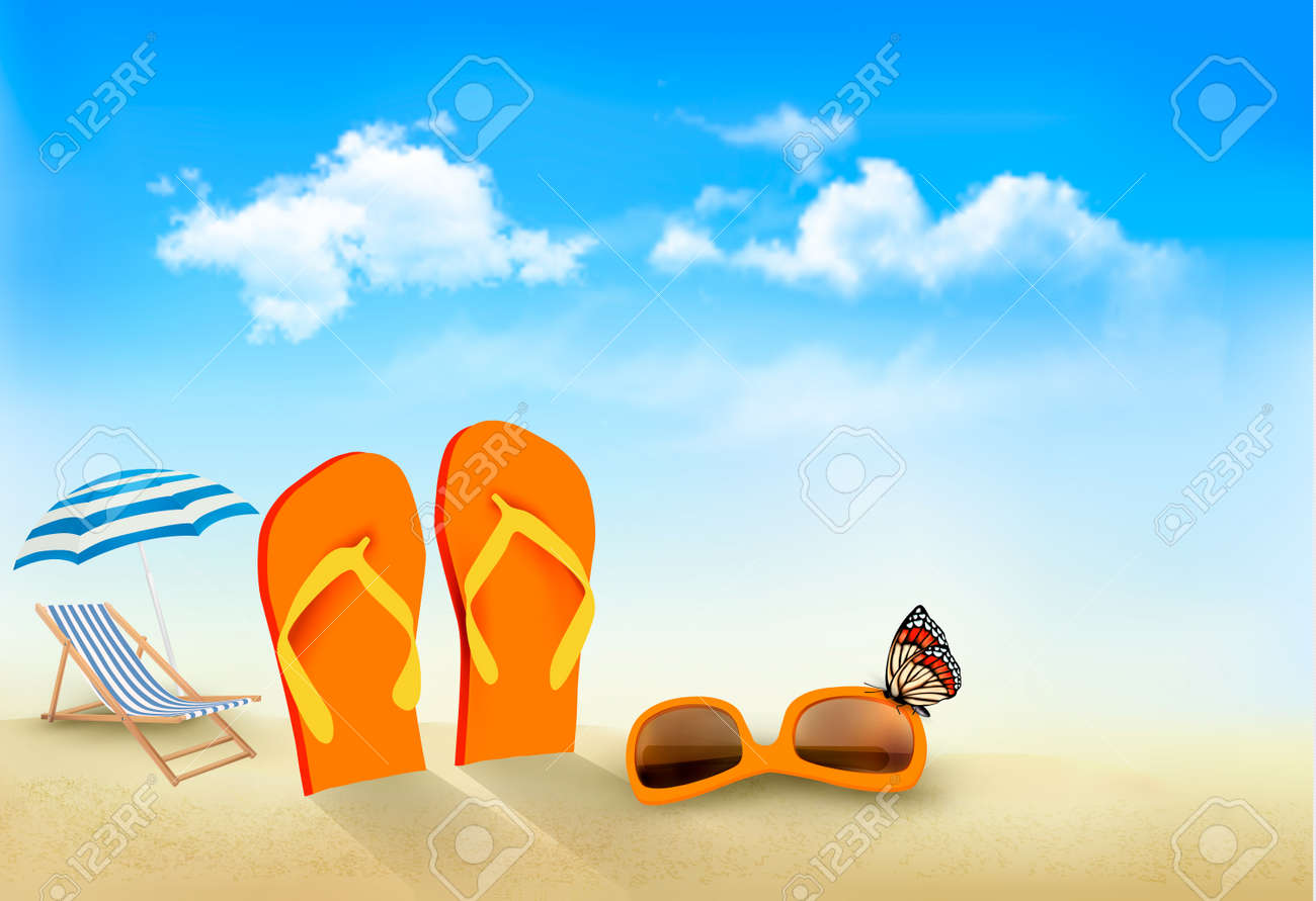 Attirant Flip Flops, Sunglasses, Beach Chair And A Butterfly On A Beach Summer  Vacation Background