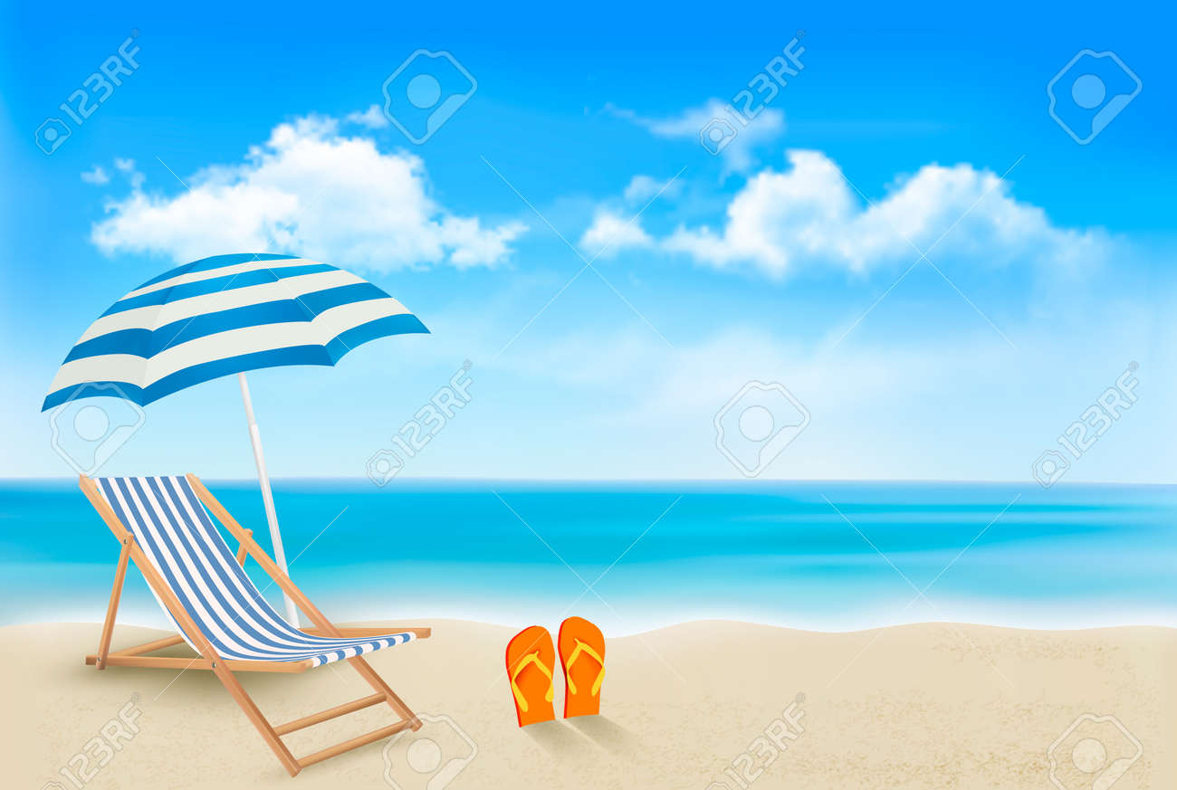 Seaside view with an umbrella, beach chair and a pair of flip-flops. Summer vacation concept background. Vector. - 27322679