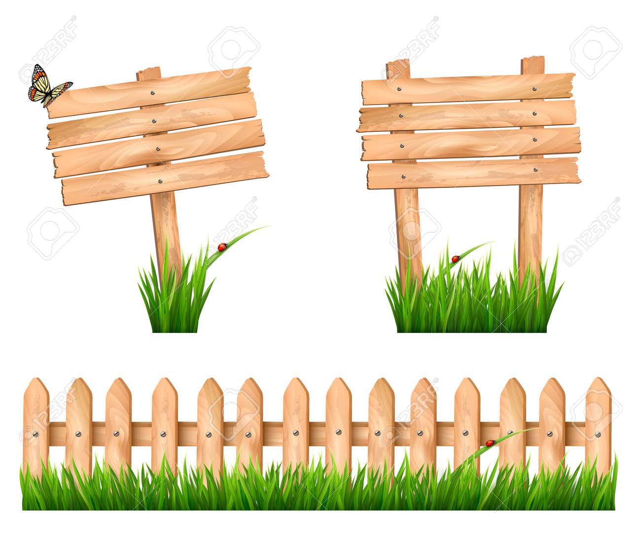 Zwei Hölzerne Zeichen Und Ein Zaun Mit Gras. Vector. Lizenzfrei ...