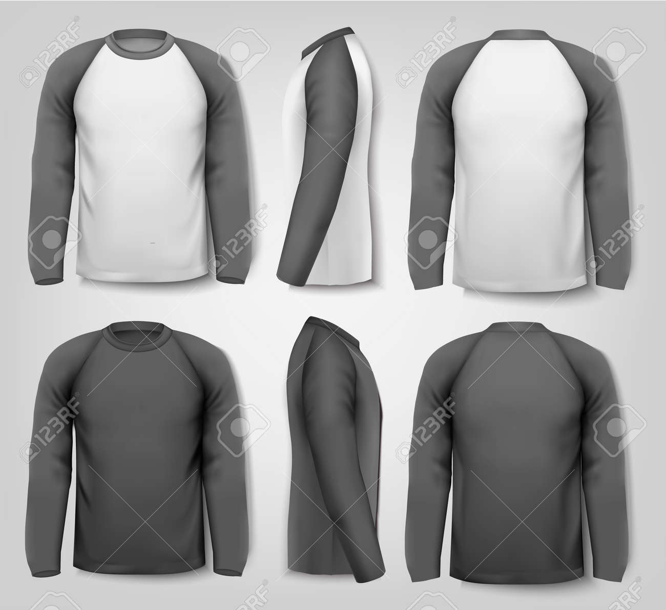 Black And White Male Long Sleeved Shirts With Sample Text Design