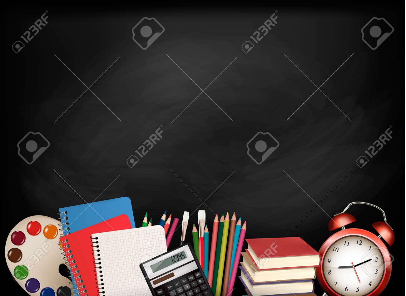 Back to school.Chalkboard with school supplies. Vector. - 31052531