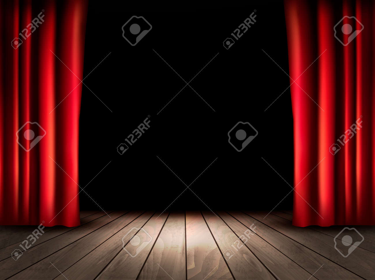 Theater Stage With Wooden Floor And Red Curtains. Vector. Royalty ...