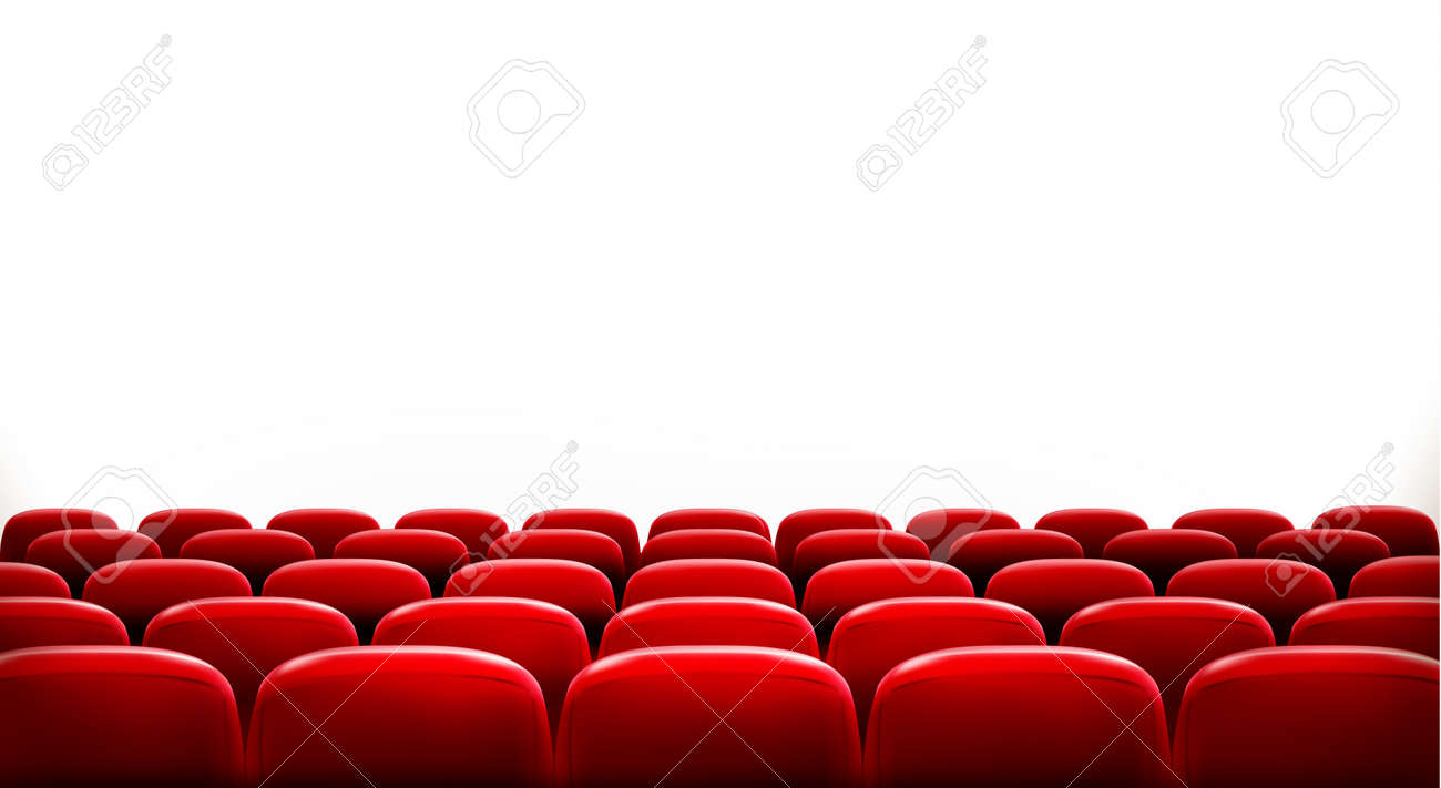 Rows of red cinema or theater seats in front of white blank screen with sample text space. Vector. - 31375227
