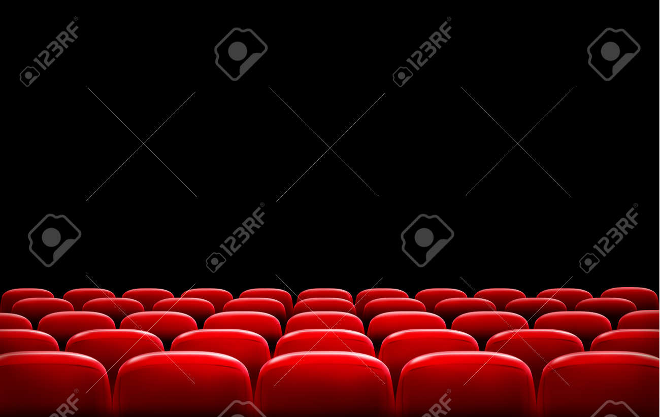 Rows of red cinema or theater seats in front of black screen with sample text space. Vector. - 31375228