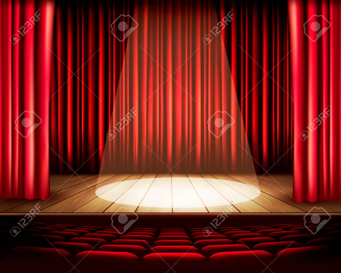 Stage curtains spotlight - A Theater Stage With A Red Curtain Seats And A Spotlight Vector Stock