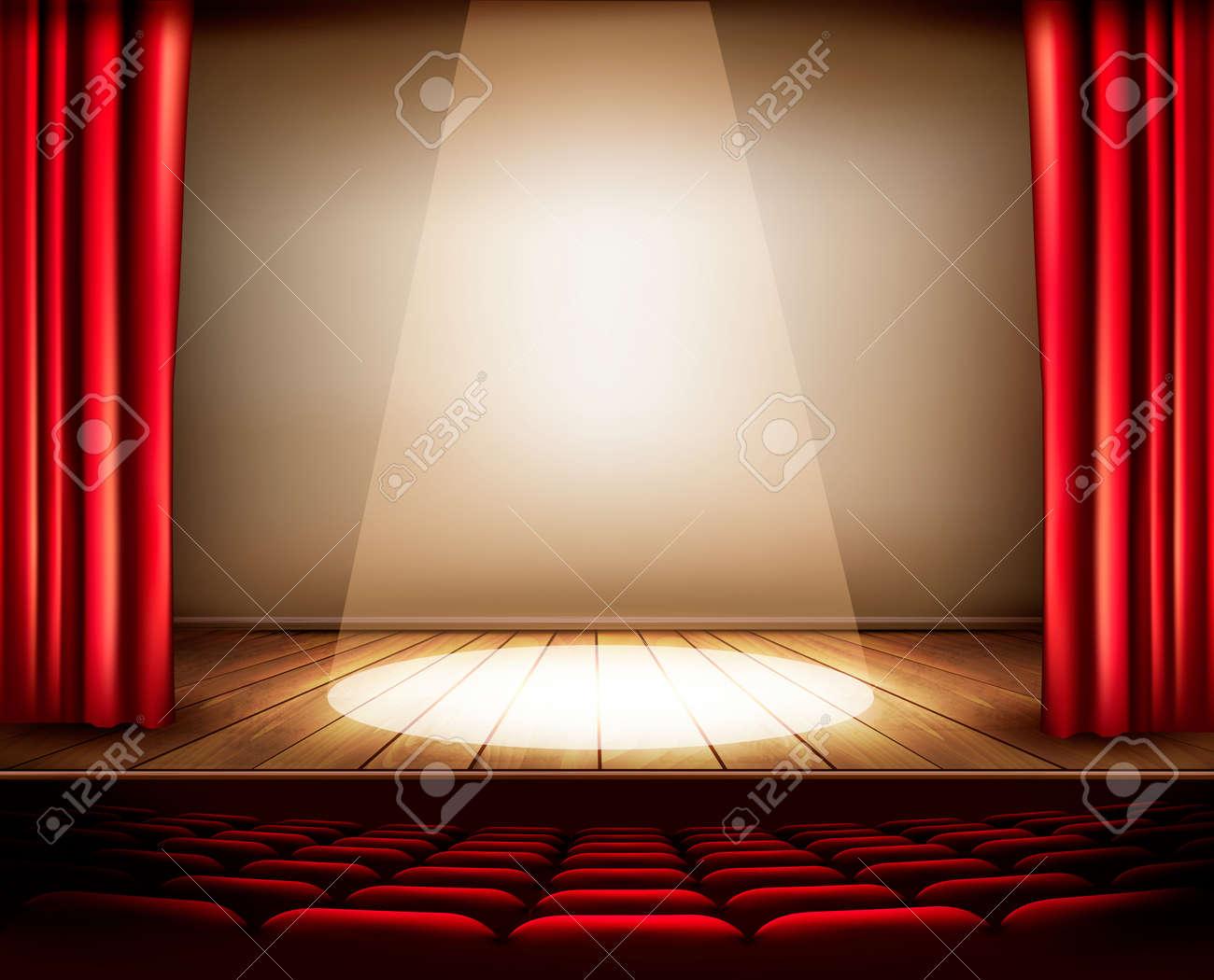 Een theater podium met een rood gordijn, stoelen en een ...