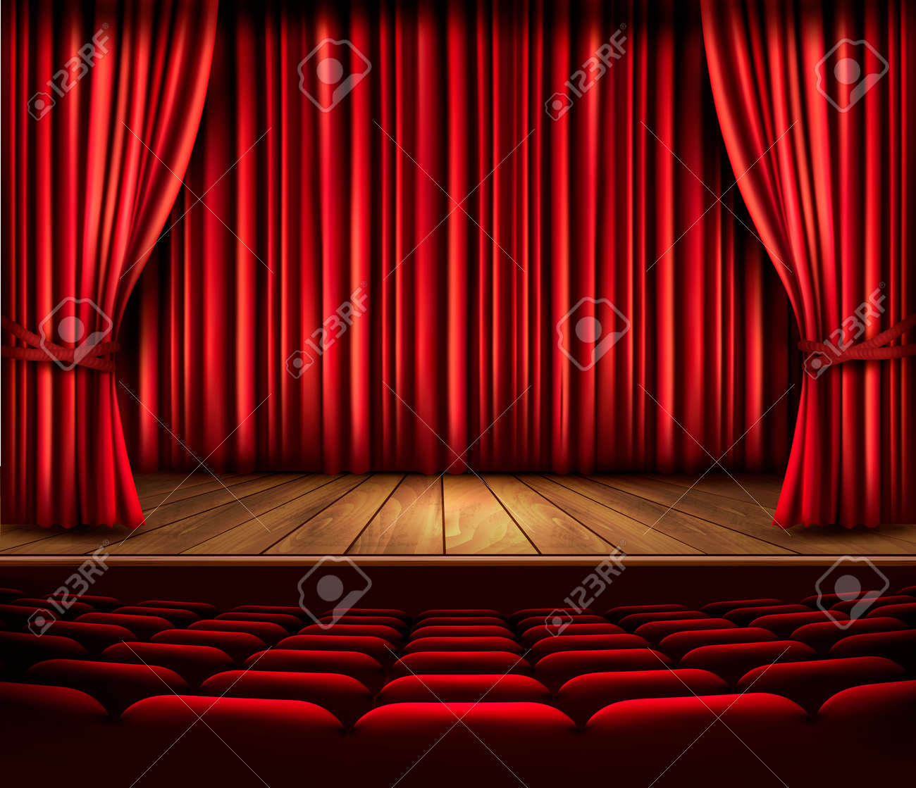 A Theater Stage With Red Curtain Seats And Spotlight Vector Stock