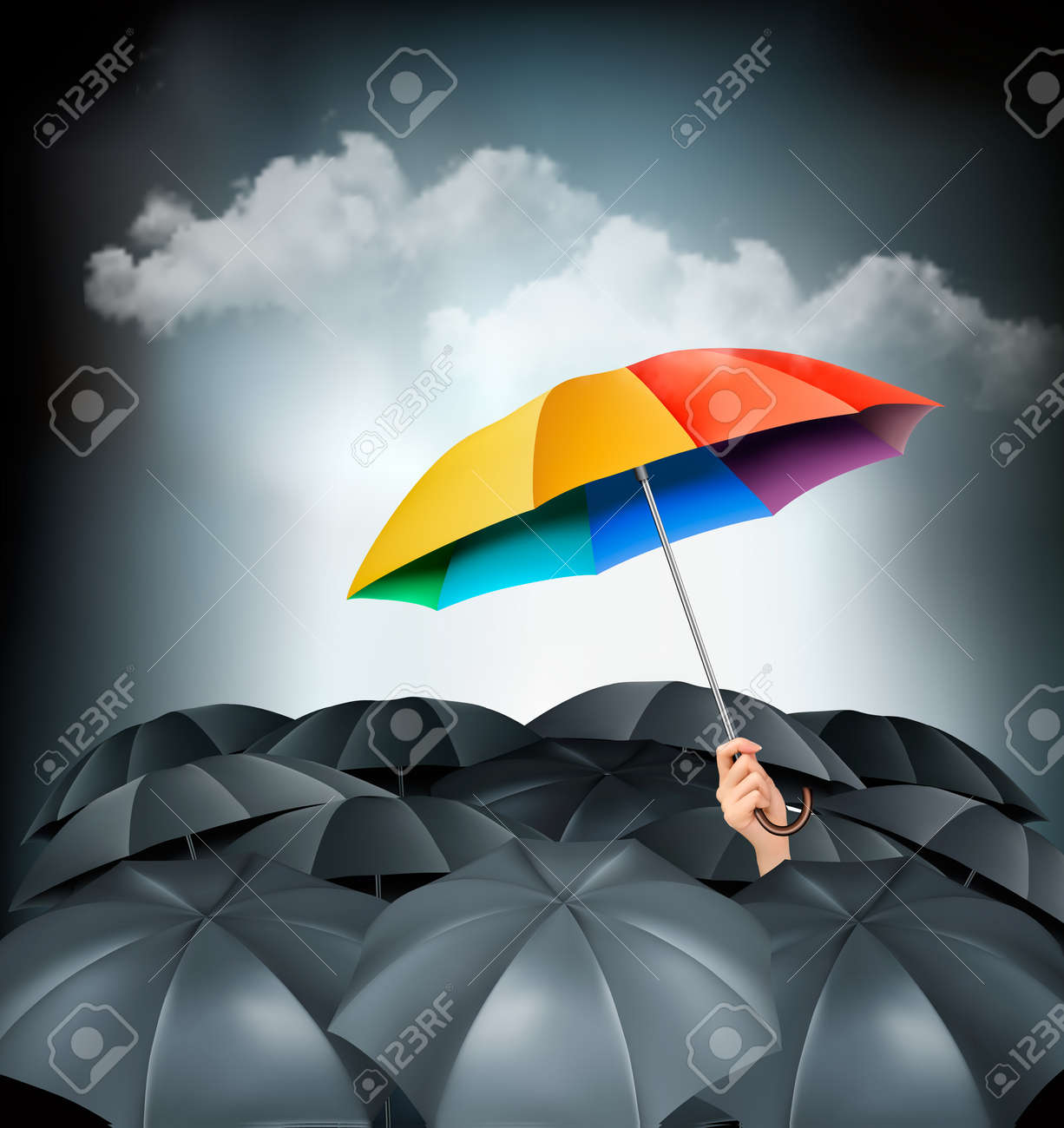 One rainbow umbrella standing out on a grey background. Unique concept. Vector. - 32601954