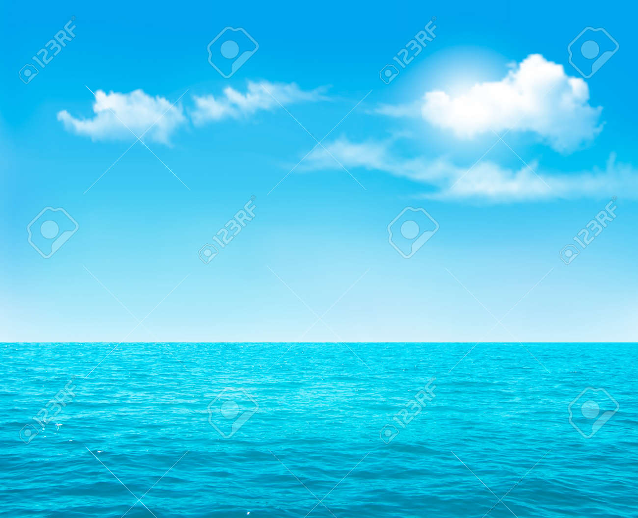 Nature background - blue ocean and blue cloudy sky. Vector. - 39536344