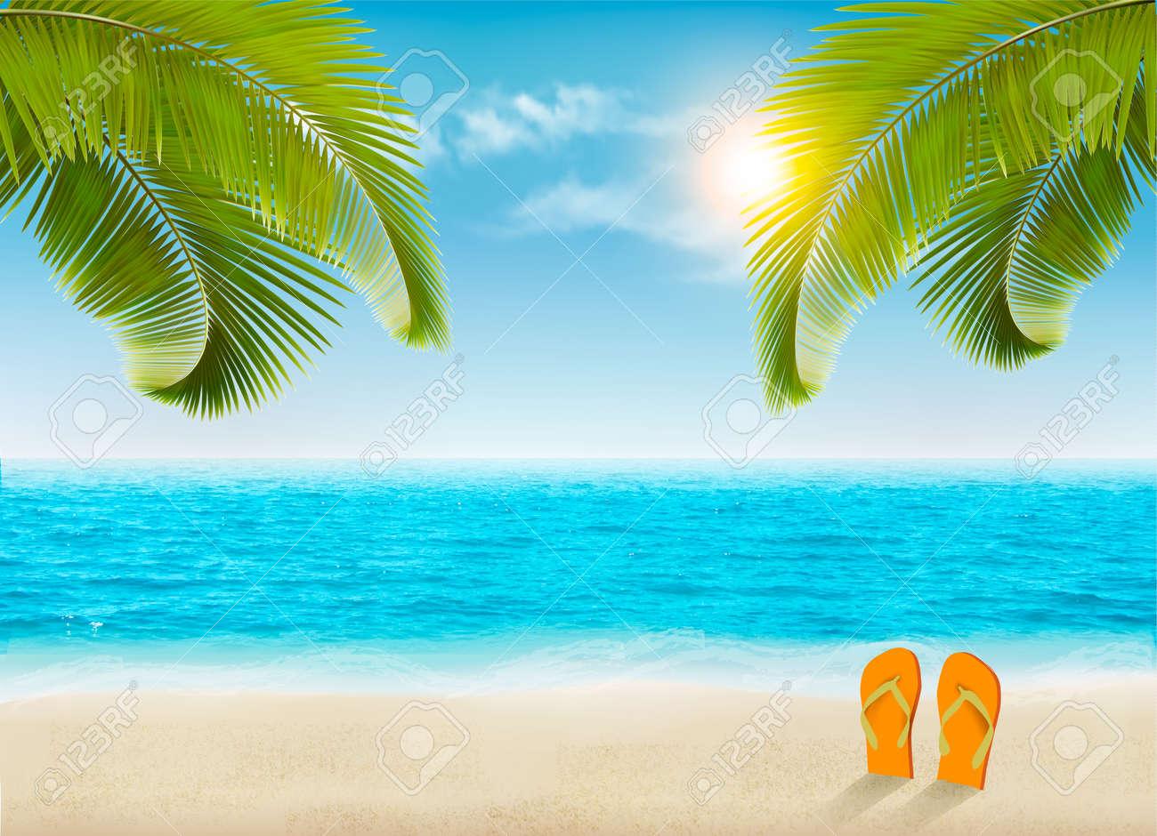 vacation background beach with palm trees and blue sea vector