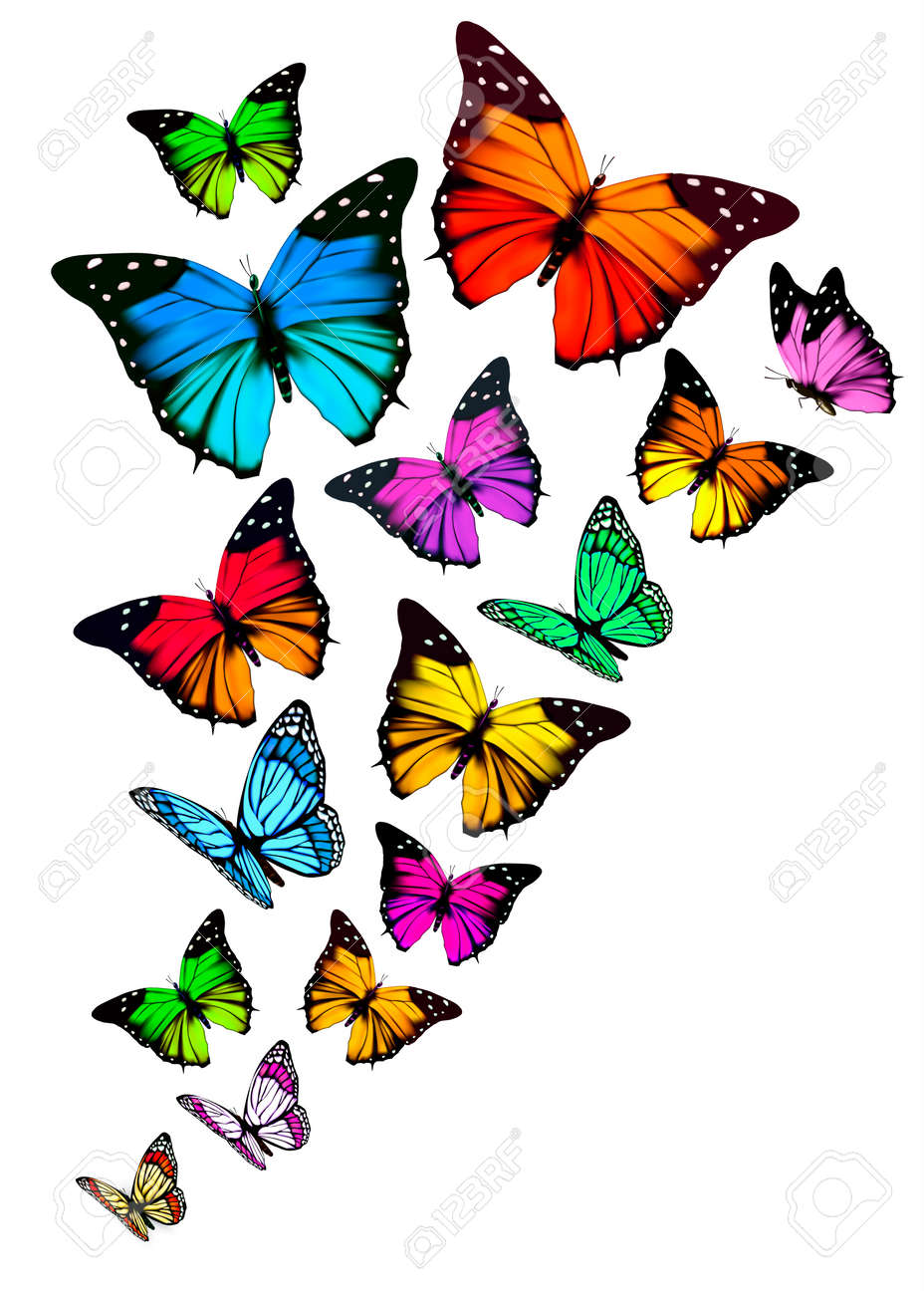 Background With Colorful Butterflies Vector Royalty Free Cliparts